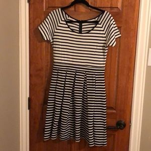 Navy and white stripped a-line, dress.